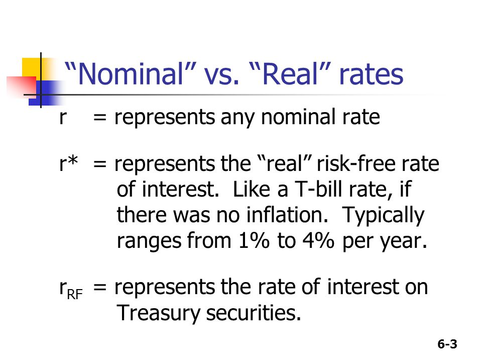 """6-3 """"Nominal"""" vs. """"Real"""" rates r= represents any nominal rate r*= represents the """"real"""" risk-free rate of interest. Like a T-bill rate, if there was n"""