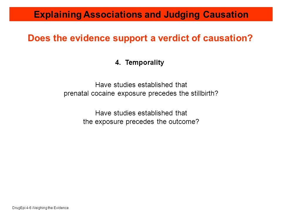 DrugEpi 4-6 Weighing the Evidence Explaining Associations and Judging Causation 4.