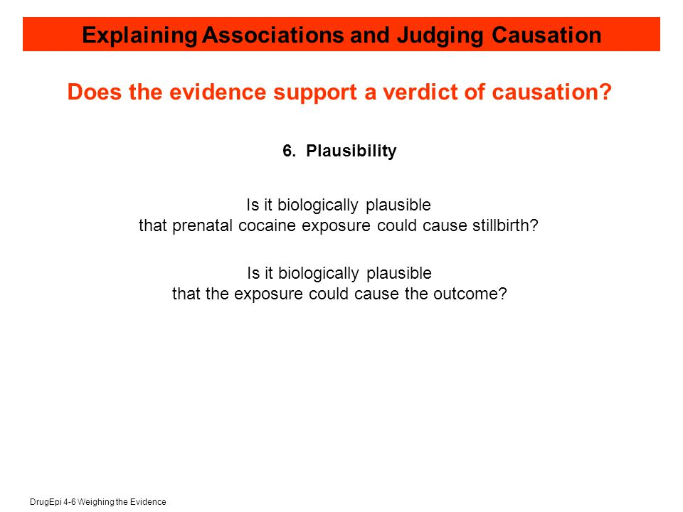 DrugEpi 4-6 Weighing the Evidence Explaining Associations and Judging Causation 6.