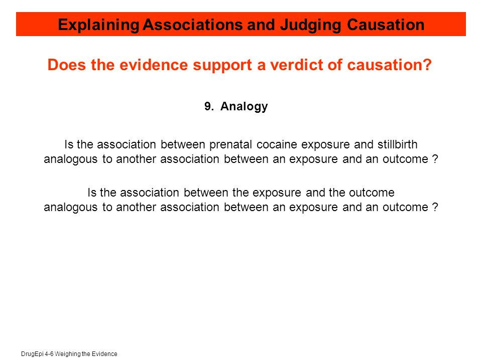 DrugEpi 4-6 Weighing the Evidence Explaining Associations and Judging Causation 9.