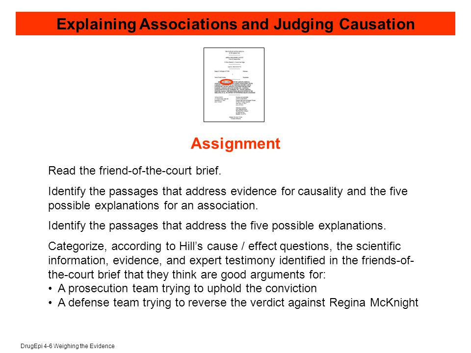 DrugEpi 4-6 Weighing the Evidence Explaining Associations and Judging Causation Read the friend-of-the-court brief.