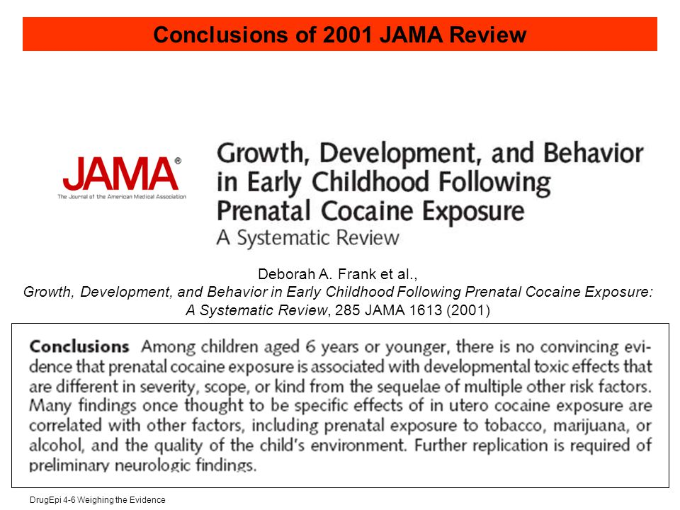 DrugEpi 4-6 Weighing the Evidence Conclusions of 2001 JAMA Review Deborah A.