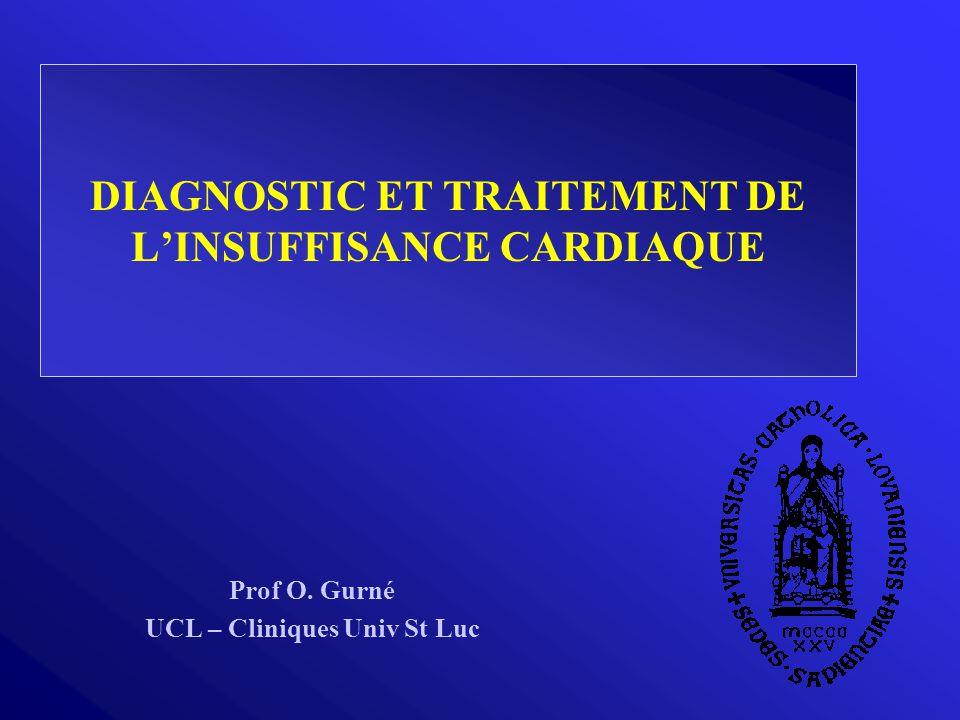 DIAGNOSTIC ET TRAITEMENT DE L'INSUFFISANCE CARDIAQUE Prof O. Gurné UCL – Cliniques Univ St Luc