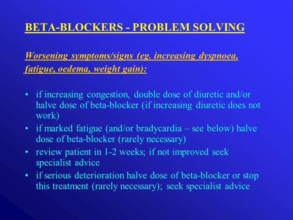 BETA-BLOCKERS - PROBLEM SOLVING Worsening symptoms/signs (eg.