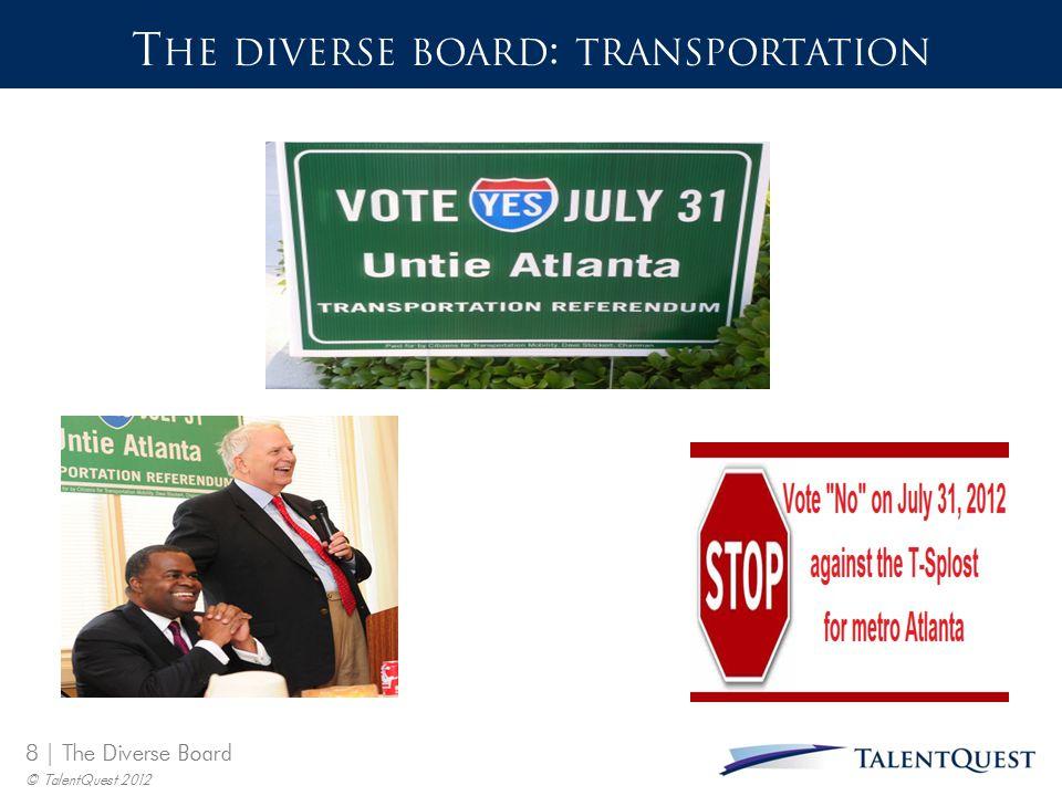 8 | The Diverse Board © TalentQuest 2012 T HE DIVERSE BOARD : TRANSPORTATION