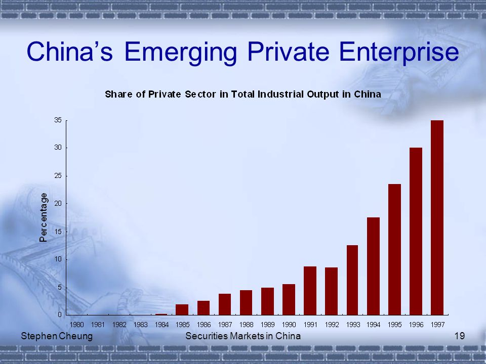 Stephen CheungSecurities Markets in China19 China's Emerging Private Enterprise