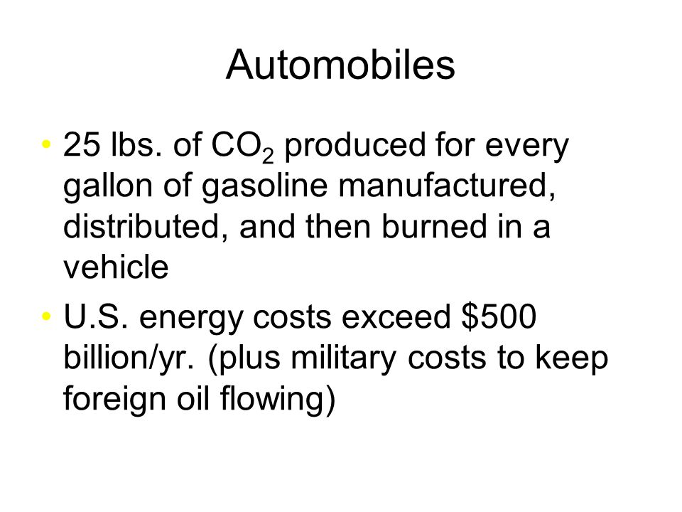 Automobiles 25 lbs. of CO 2 produced for every gallon of gasoline manufactured, distributed, and then burned in a vehicle U.S. energy costs exceed $50