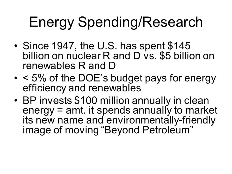 Energy Spending/Research Since 1947, the U.S.has spent $145 billion on nuclear R and D vs.