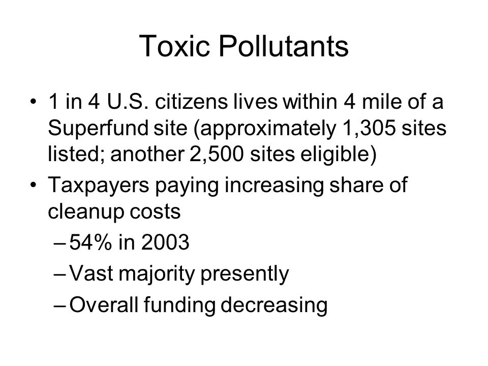 Toxic Pollutants 1 in 4 U.S.