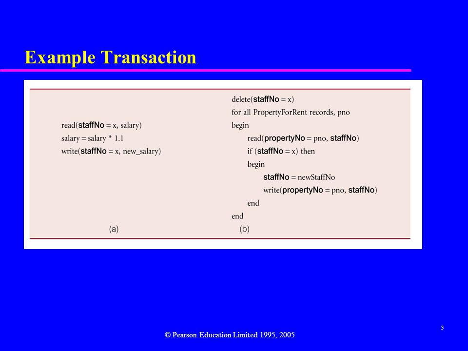 3 Example Transaction © Pearson Education Limited 1995, 2005