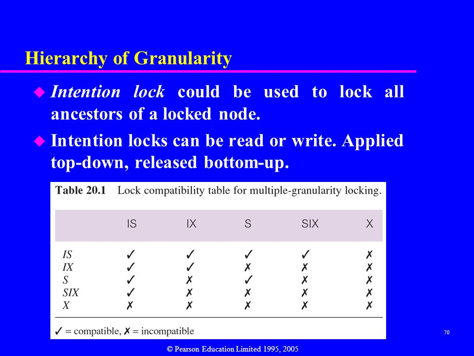 70 Hierarchy of Granularity u Intention lock could be used to lock all ancestors of a locked node.