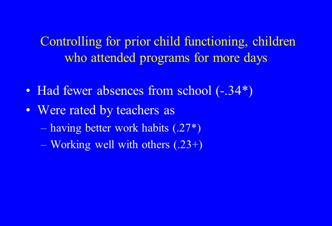 Controlling for prior child functioning, children who attended programs for more days Had fewer absences from school (-.34*) Were rated by teachers as –having better work habits (.27*) –Working well with others (.23+)