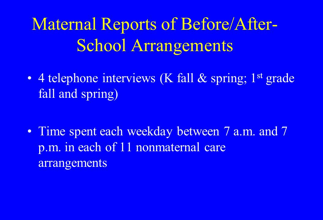 Maternal Reports of Before/After- School Arrangements 4 telephone interviews (K fall & spring; 1 st grade fall and spring) Time spent each weekday between 7 a.m.