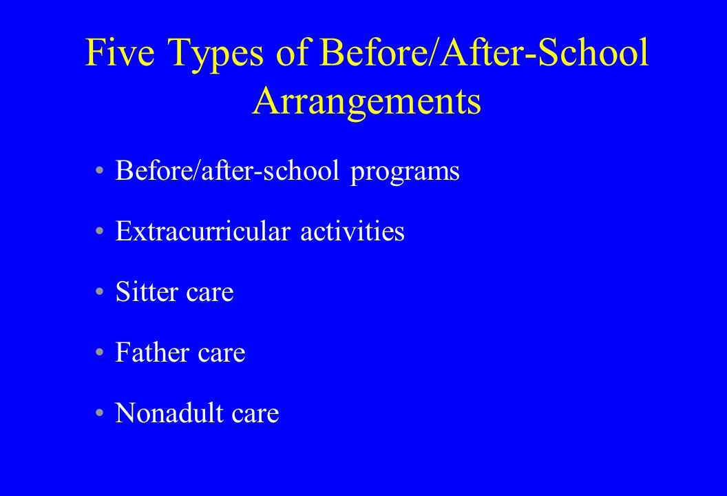 Five Types of Before/After-School Arrangements Before/after-school programs Extracurricular activities Sitter care Father care Nonadult care