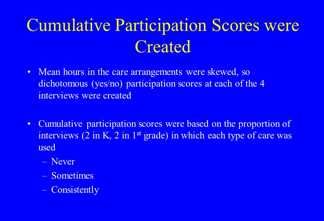 Cumulative Participation Scores were Created Mean hours in the care arrangements were skewed, so dichotomous (yes/no) participation scores at each of the 4 interviews were created Cumulative participation scores were based on the proportion of interviews (2 in K, 2 in 1 st grade) in which each type of care was used –Never –Sometimes –Consistently