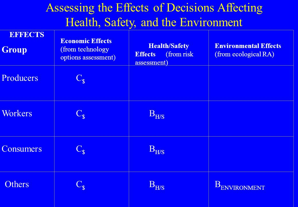 Considerations Relevant to Decisions about Health, Safety, and the Environment l the seriousness and irreversibility of the harm addressed l the societal distribution of possible costs and benefits of policies and technologies l the technological options for preventing, arresting, reversing, or mitigating possible harm -- and the opportunity costs of selecting a given policy option.
