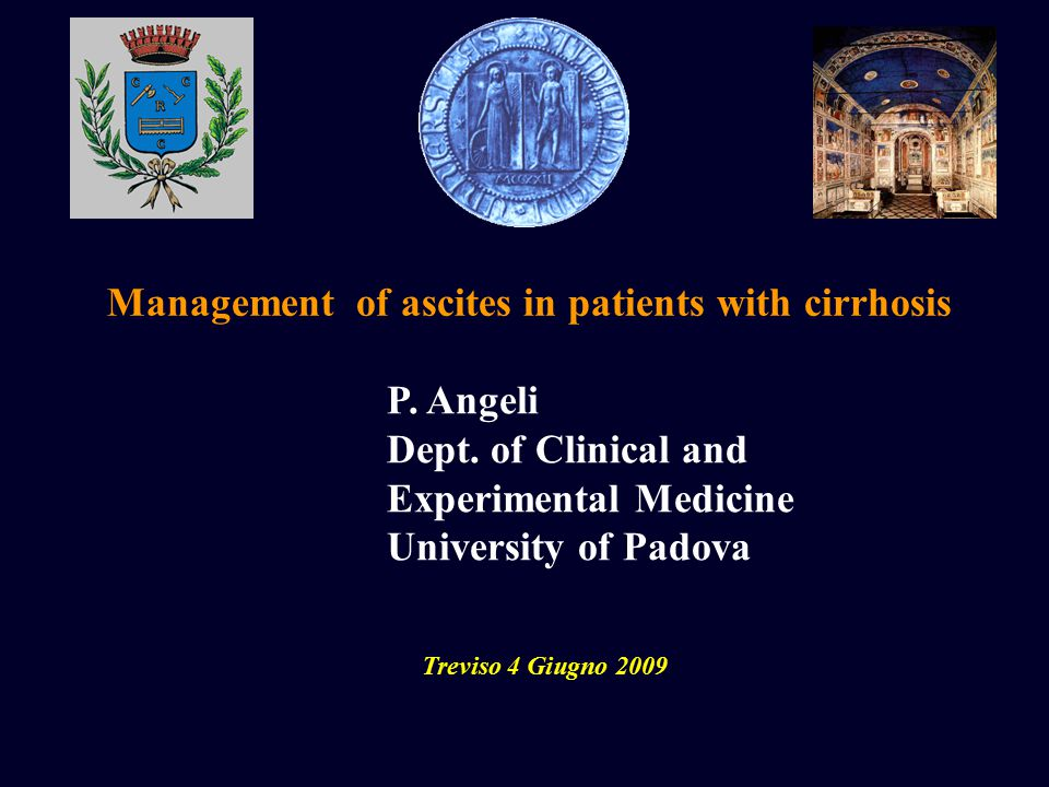 Management of ascites in patients with cirrhosis Treviso 4 Giugno 2009 P.