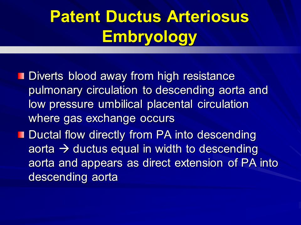Diverts blood away from high resistance pulmonary circulation to descending aorta and low pressure umbilical placental circulation where gas exchange occurs Ductal flow directly from PA into descending aorta  ductus equal in width to descending aorta and appears as direct extension of PA into descending aorta Patent Ductus Arteriosus Embryology