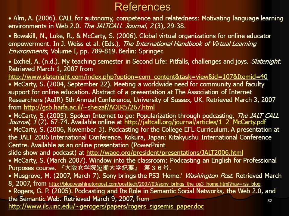 32References Alm, A. (2006).