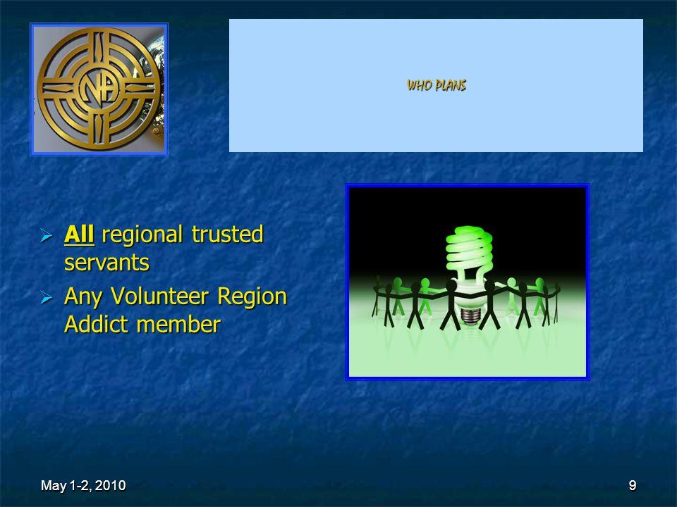 9 WHO PLANS AAAAll regional trusted servants AAAAny Volunteer Region Addict member May 1-2, 2010 9