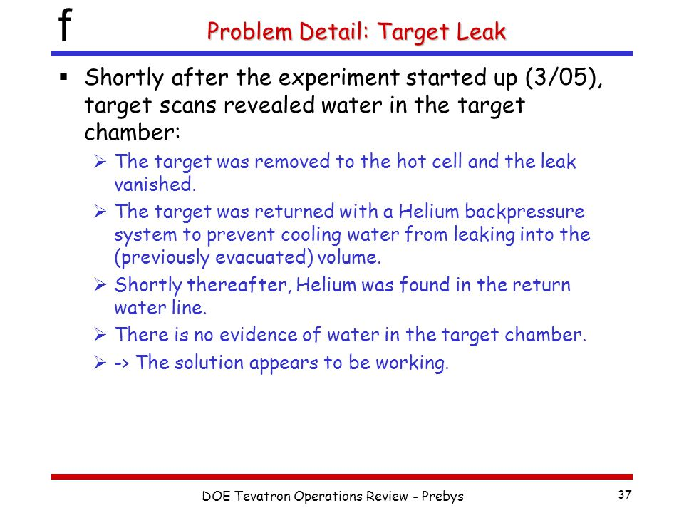 f DOE Tevatron Operations Review - Prebys 37 Problem Detail: Target Leak  Shortly after the experiment started up (3/05), target scans revealed water