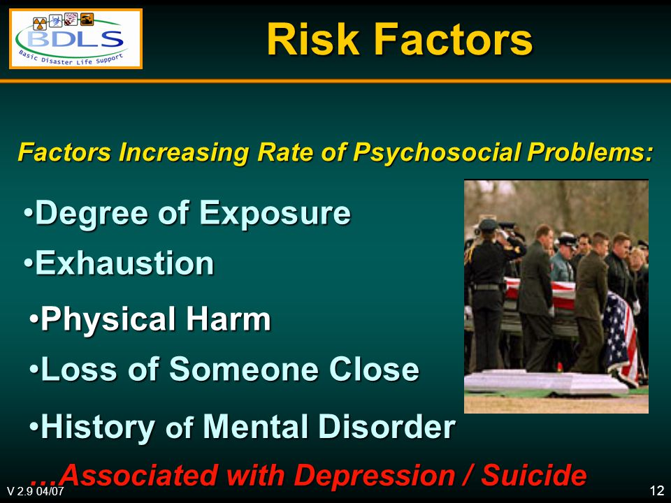 V 2.9 04/07 12 Risk Factors Risk Factors Degree of ExposureDegree of Exposure ExhaustionExhaustion Factors Increasing Rate of Psychosocial Problems: Physical HarmPhysical Harm Loss of Someone CloseLoss of Someone Close History of Mental DisorderHistory of Mental Disorder …Associated with Depression / Suicide