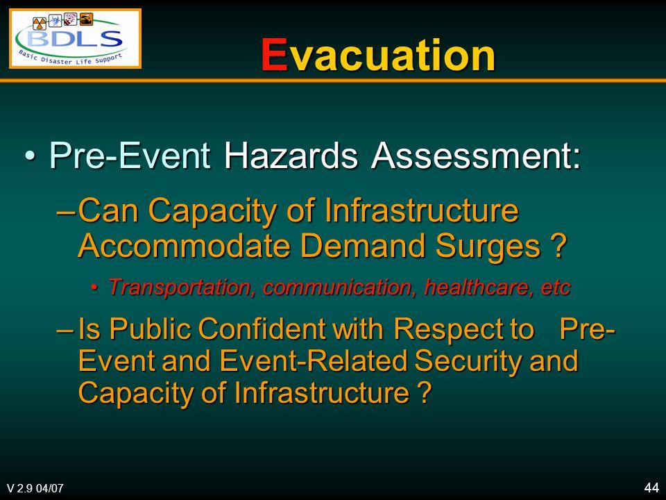 V 2.9 04/07 44 Evacuation Pre-Event Hazards Assessment:Pre-Event Hazards Assessment: –Can Capacity of Infrastructure Accommodate Demand Surges ? Trans