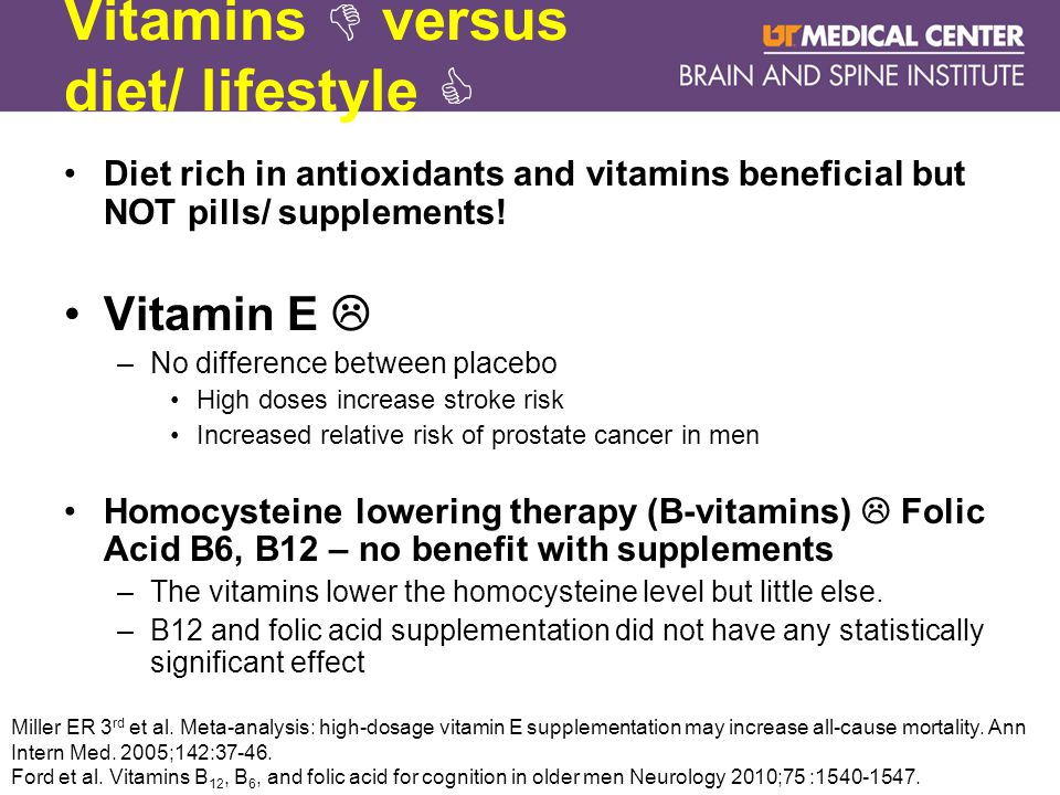 Vitamins  versus diet/ lifestyle  Diet rich in antioxidants and vitamins beneficial but NOT pills/ supplements.
