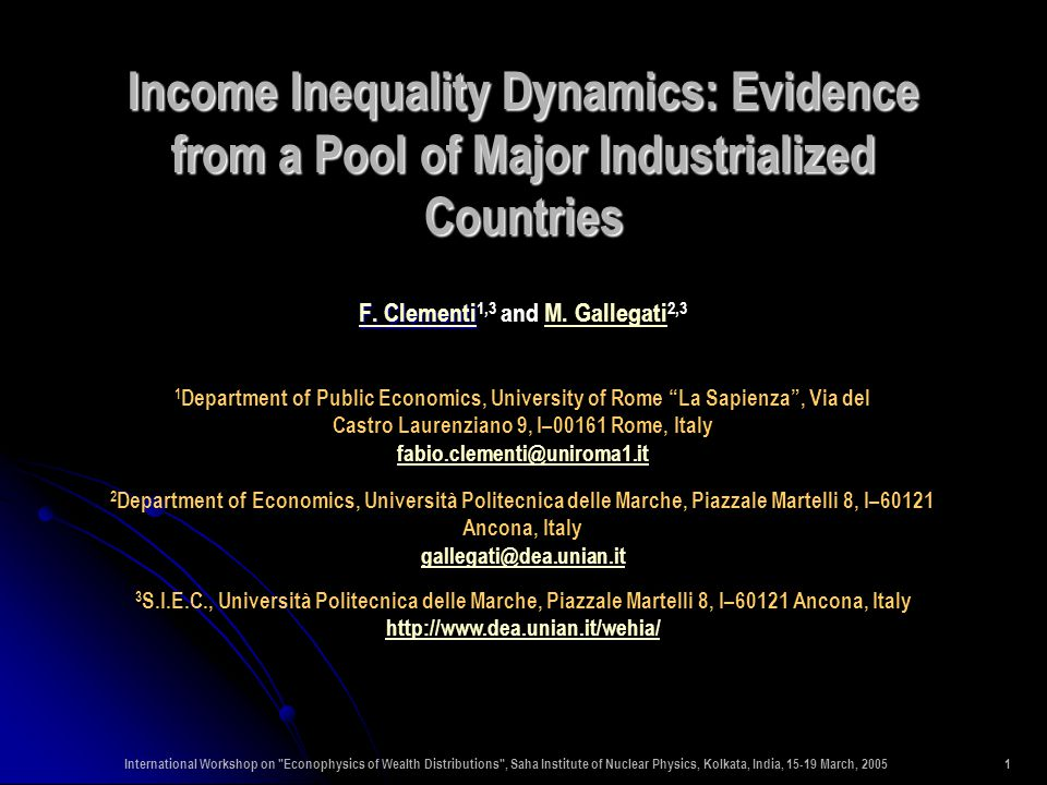 International Workshop on Econophysics of Wealth Distributions , Saha Institute of Nuclear Physics, Kolkata, India, 15-19 March, 200532 One-year dynamic decomposition of GE(2) inequality measure by income source for the power-law region of the income distribution: (a) United States; (b) United Kingdom; (c) Germany; (d) Italy