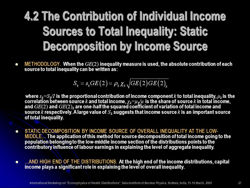 International Workshop on Econophysics of Wealth Distributions , Saha Institute of Nuclear Physics, Kolkata, India, 15-19 March, 200527 4.2 The Contribution of Individual Income Sources to Total Inequality: Static Decomposition by Income Source METHODOLOGY.