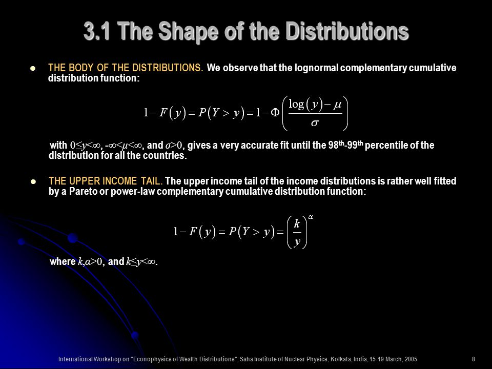 International Workshop on Econophysics of Wealth Distributions , Saha Institute of Nuclear Physics, Kolkata, India, 15-19 March, 200519 3.4 Temporal Change of the Distributions: The Composition of Total Income in the Two Sections of the Distributions THE COMPOSITION OF TOTAL INCOME...
