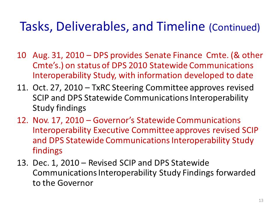 Tasks, Deliverables, and Timeline (Continued) 10Aug. 31, 2010 – DPS provides Senate Finance Cmte. (& other Cmte's.) on status of DPS 2010 Statewide Co