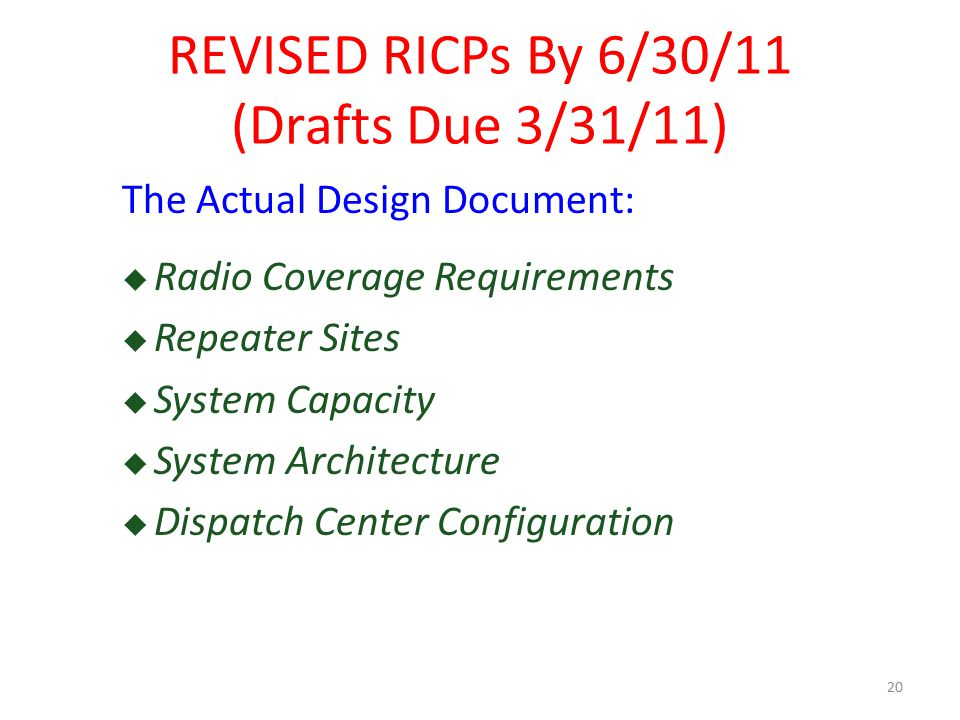 The Actual Design Document:  Radio Coverage Requirements  Repeater Sites  System Capacity  System Architecture  Dispatch Center Configuration 20