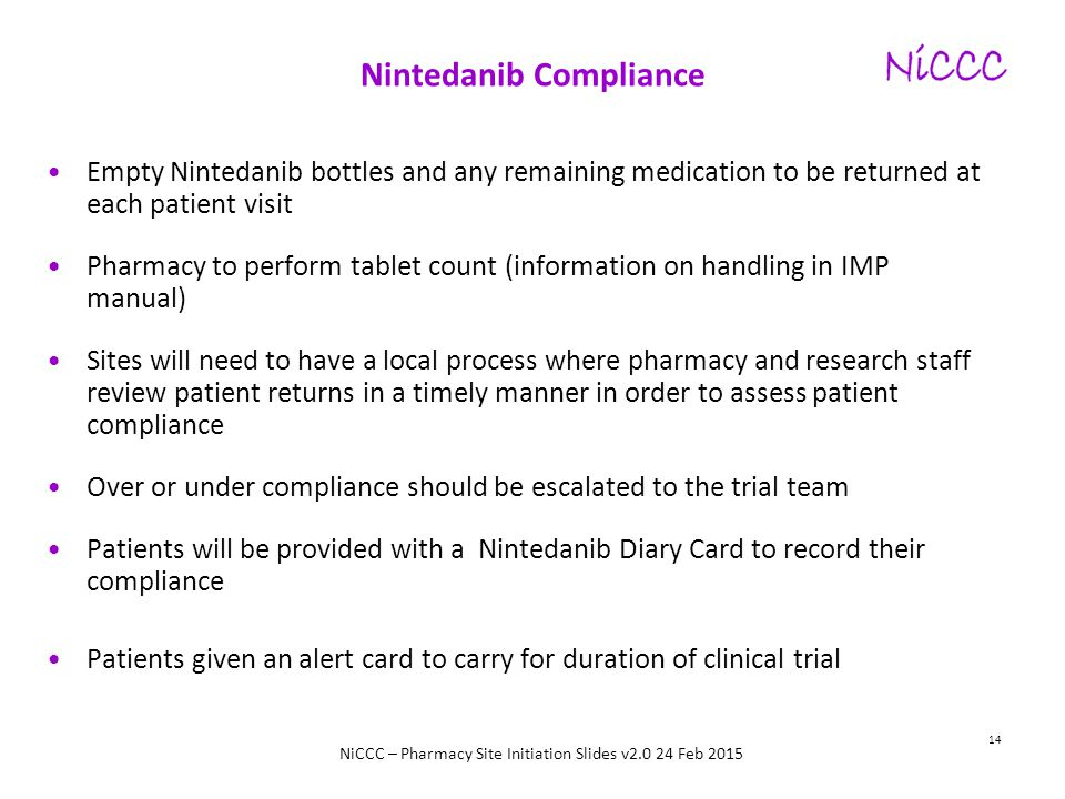NiCCC – Pharmacy Site Initiation Slides v2.0 24 Feb 2015 Nintedanib Compliance Empty Nintedanib bottles and any remaining medication to be returned at