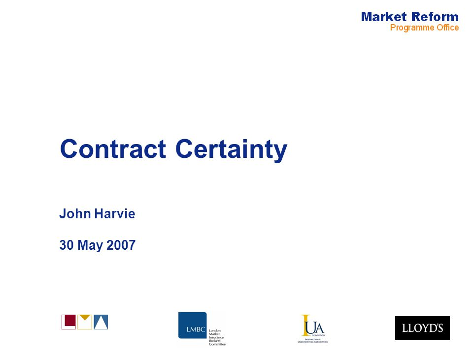 Market Reform Page 12 Plan for publication MRG signed off CCSC (non subscription market) signed off FSA acknowledge and support AIRMIC signed off CII supportive Publish June, code of practice, before and after comparison, quick reference guide.