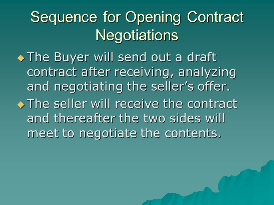 Sequence for Opening Contract Negotiations  The Buyer will send out a draft contract after receiving, analyzing and negotiating the seller's offer. 