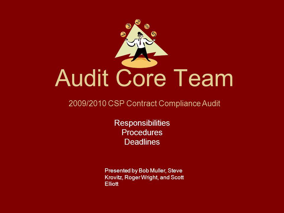 Audit Core Team Responsibilities Procedures Deadlines Presented by Bob Muller, Steve Krovitz, Roger Wright, and Scott Elliott 2009/2010 CSP Contract C