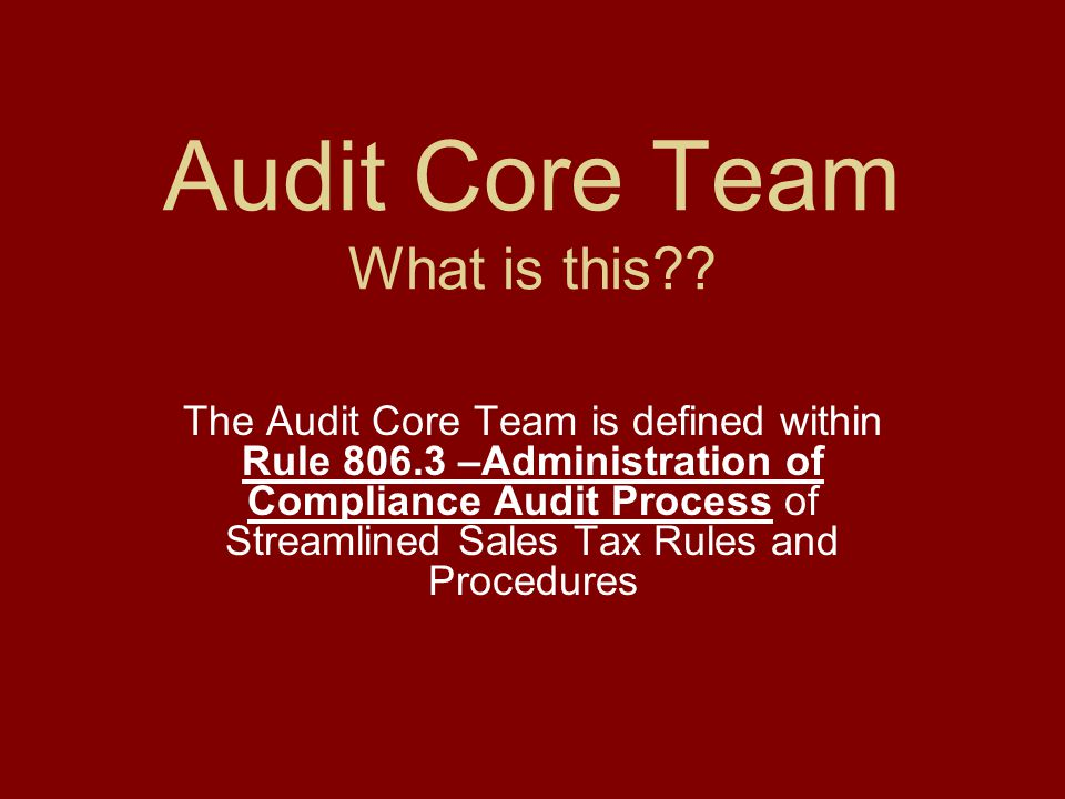 Audit Core Team What is this .