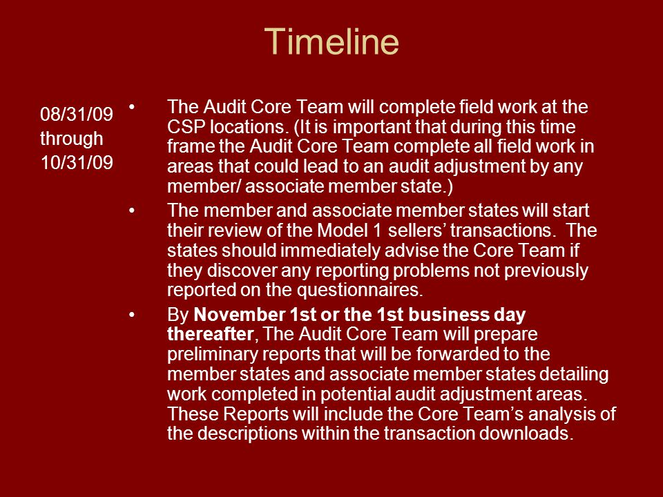 Timeline 08/31/09 through 10/31/09 The Audit Core Team will complete field work at the CSP locations. (It is important that during this time frame the