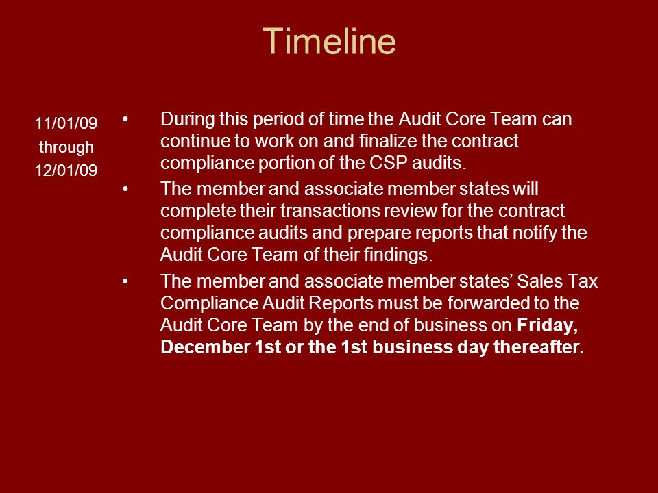 Timeline 11/01/09 through 12/01/09 During this period of time the Audit Core Team can continue to work on and finalize the contract compliance portion of the CSP audits.