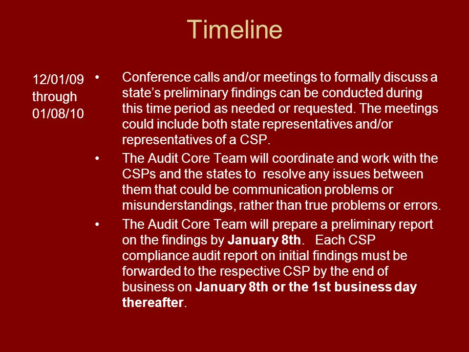 Timeline 12/01/09 through 01/08/10 Conference calls and/or meetings to formally discuss a state's preliminary findings can be conducted during this time period as needed or requested.