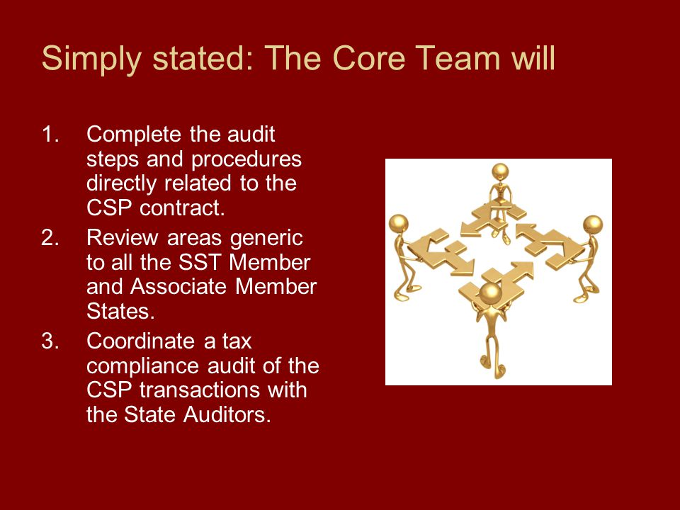 Simply stated: The Core Team will 1.Complete the audit steps and procedures directly related to the CSP contract. 2.Review areas generic to all the SS