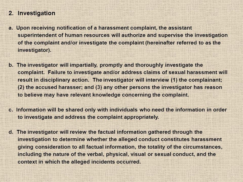 2.Investigation a.