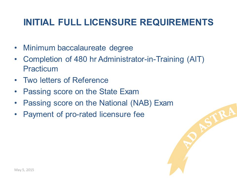 INITIAL FULL LICENSURE REQUIREMENTS Minimum baccalaureate degree Completion of 480 hr Administrator-in-Training (AIT) Practicum Two letters of Reference Passing score on the State Exam Passing score on the National (NAB) Exam Payment of pro-rated licensure fee May 5, 2015