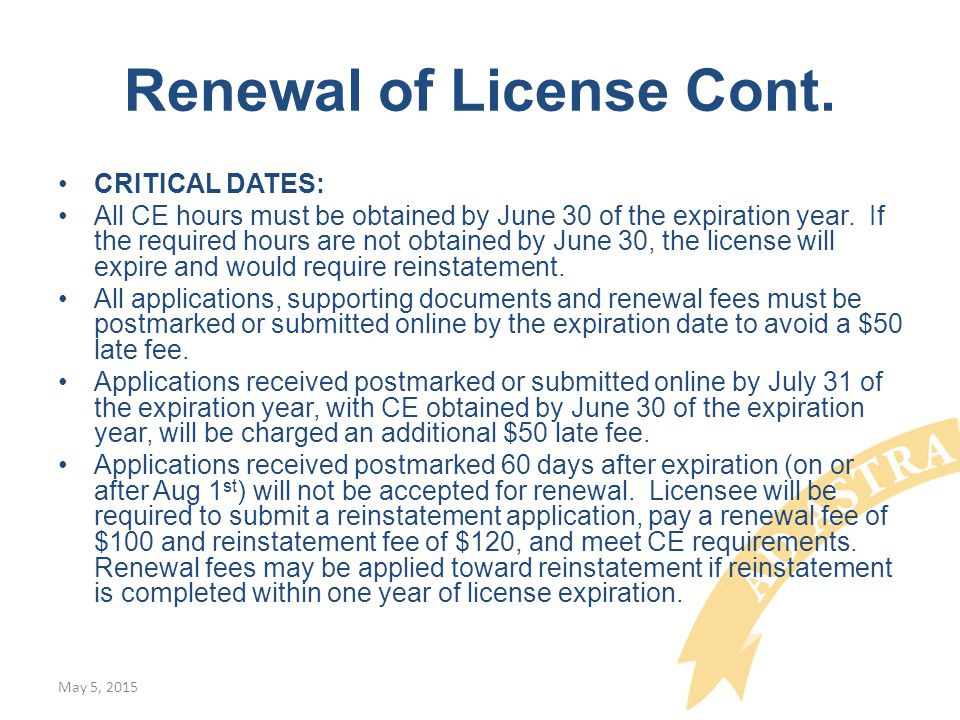 Renewal of License Cont.