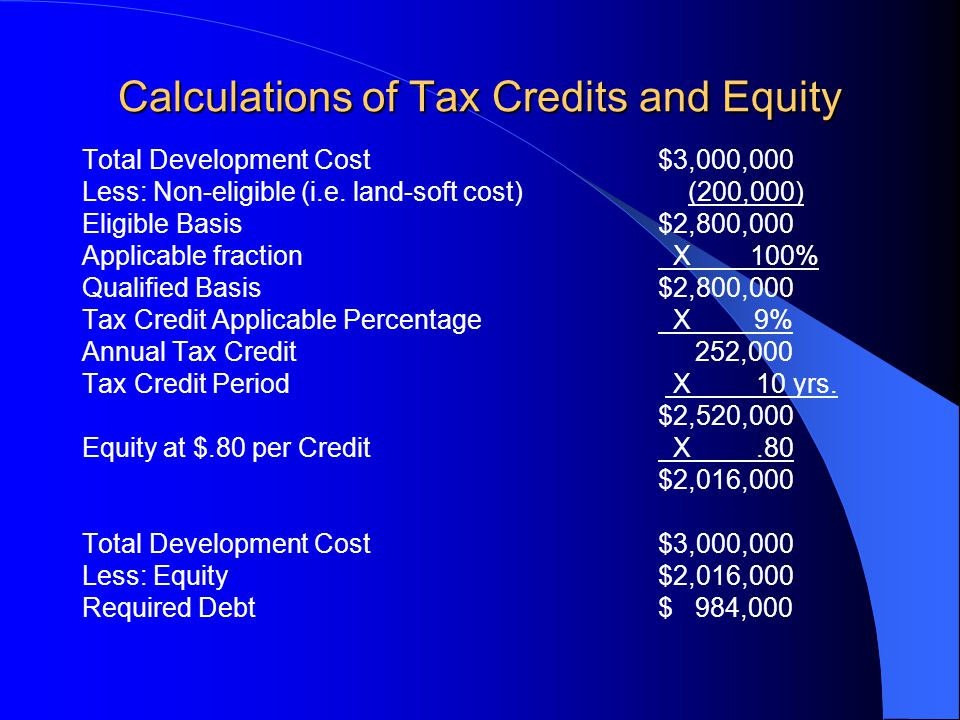 Calculations of Tax Credits and Equity Total Development Cost$3,000,000 Less: Non-eligible (i.e.
