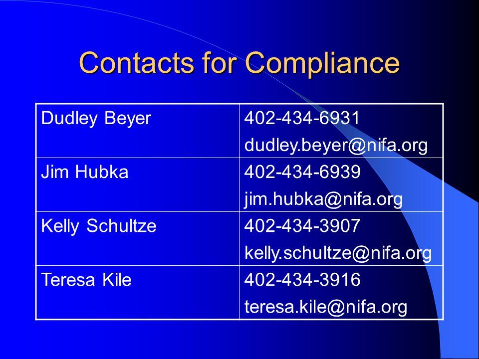 Contacts for Compliance Dudley Beyer402-434-6931 dudley.beyer@nifa.org Jim Hubka402-434-6939 jim.hubka@nifa.org Kelly Schultze402-434-3907 kelly.schul