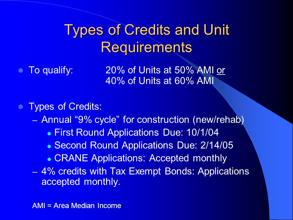 Types of Credits and Unit Requirements To qualify:20% of Units at 50% AMI or 40% of Units at 60% AMI Types of Credits: – Annual 9% cycle for construction (new/rehab) First Round Applications Due: 10/1/04 Second Round Applications Due: 2/14/05 CRANE Applications: Accepted monthly – 4% credits with Tax Exempt Bonds: Applications accepted monthly.