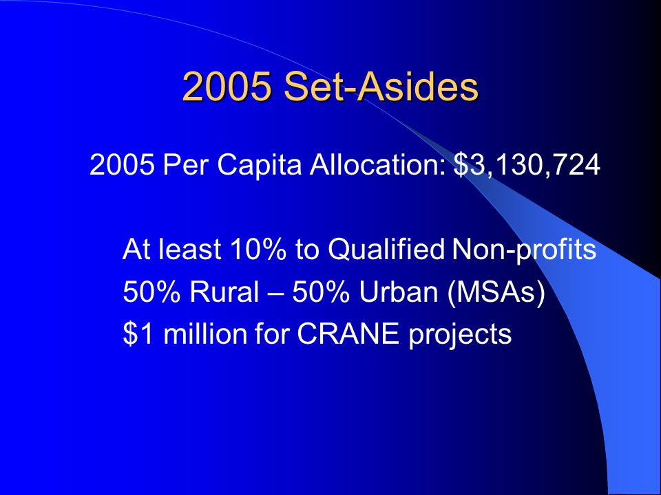 2005 Set-Asides 2005 Per Capita Allocation: $3,130,724 At least 10% to Qualified Non-profits 50% Rural – 50% Urban (MSAs) $1 million for CRANE projects
