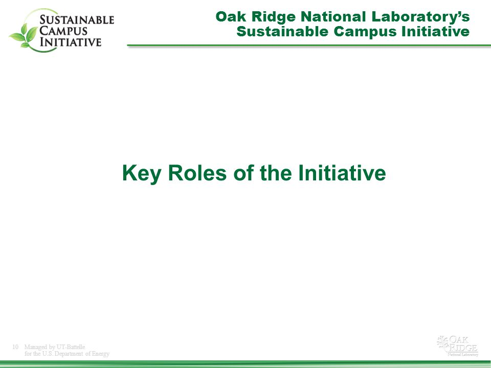 10Managed by UT-Battelle for the U.S. Department of Energy Key Roles of the Initiative Oak Ridge National Laboratory's Sustainable Campus Initiative